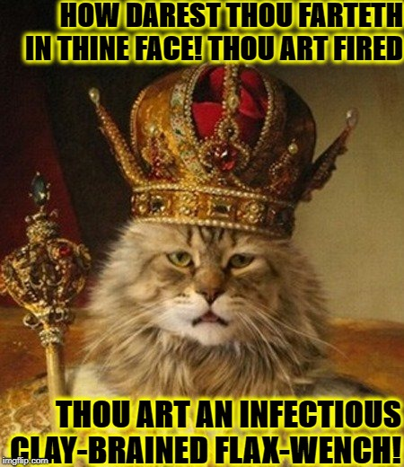 HOW DAREST THOU FARTETH IN THINE FACE! THOU ART FIRED THOU ART AN INFECTIOUS CLAY-BRAINED FLAX-WENCH! | image tagged in king douche bag | made w/ Imgflip meme maker
