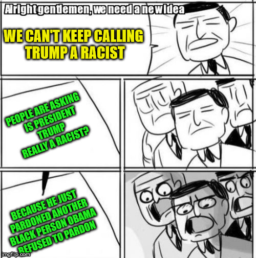 Alright Gentlemen We Need A New Idea | WE CAN'T KEEP CALLING TRUMP A RACIST PEOPLE ARE ASKING    IS PRESIDENT TRUMP REALLY A RACIST? BECAUSE HE JUST PARDONED ANOTHER BLACK PERSON  | image tagged in memes,alright gentlemen we need a new idea | made w/ Imgflip meme maker