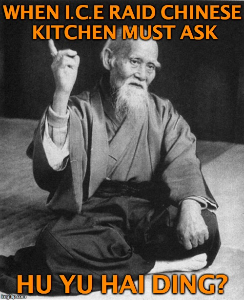 Confucius says  | WHEN I.C.E RAID CHINESE KITCHEN MUST ASK HU YU HAI DING? | image tagged in confucius says,illegal immigrant | made w/ Imgflip meme maker