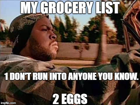 Today Was A Good Day Meme | MY GROCERY LIST 1 DON'T RUN INTO ANYONE YOU KNOW. 2 EGGS | image tagged in memes,today was a good day,random | made w/ Imgflip meme maker