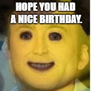 HOPE YOU HAD A NICE BIRTHDAY. | image tagged in lego boynicolas cage morph | made w/ Imgflip meme maker