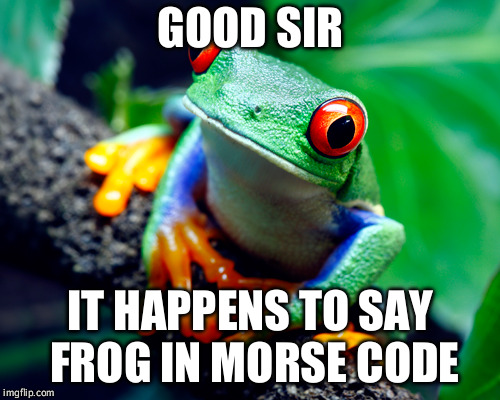 GOOD SIR IT HAPPENS TO SAY FROG IN MORSE CODE | made w/ Imgflip meme maker