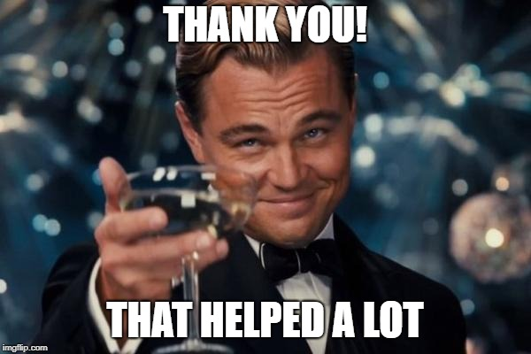 Leonardo Dicaprio Cheers Meme | THANK YOU! THAT HELPED A LOT | image tagged in memes,leonardo dicaprio cheers | made w/ Imgflip meme maker