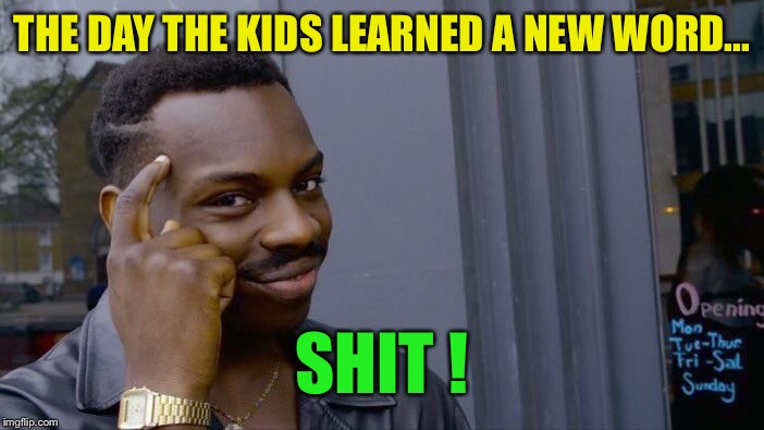 Roll Safe Think About It Meme | THE DAY THE KIDS LEARNED A NEW WORD... SHIT ! | image tagged in memes,roll safe think about it | made w/ Imgflip meme maker