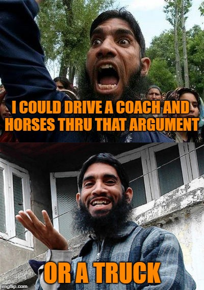 I COULD DRIVE A COACH AND HORSES THRU THAT ARGUMENT OR A TRUCK | made w/ Imgflip meme maker