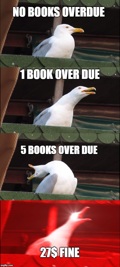 Inhaling Seagull Meme | NO BOOKS OVERDUE 1 BOOK OVER DUE 5 BOOKS OVER DUE 27$ FINE | image tagged in memes,inhaling seagull | made w/ Imgflip meme maker