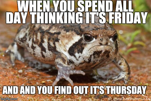 True story! Frog Week, June 4-10, a JBmemegeek & giveuahint event! | WHEN YOU SPEND ALL DAY THINKING IT'S FRIDAY AND AND YOU FIND OUT IT'S THURSDAY | image tagged in memes,grumpy toad,frog week | made w/ Imgflip meme maker
