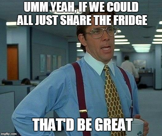 That Would Be Great |  UMM YEAH, IF WE COULD ALL JUST SHARE THE FRIDGE; THAT'D BE GREAT | image tagged in that would be great,work,fridge,share,sharing is caring | made w/ Imgflip meme maker