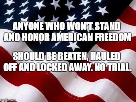 American Freedom | ANYONE WHO WON'T STAND AND HONOR AMERICAN FREEDOM SHOULD BE BEATEN, HAULED OFF AND LOCKED AWAY. NO TRIAL. | image tagged in political meme | made w/ Imgflip meme maker