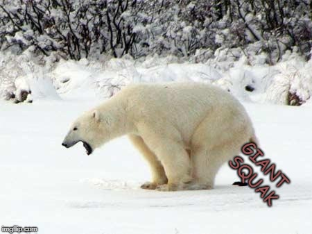 Polar Bear Shits in the Snow | GIANT SQUAK | image tagged in polar bear shits in the snow | made w/ Imgflip meme maker