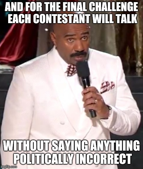 AND FOR THE FINAL CHALLENGE EACH CONTESTANT WILL TALK WITHOUT SAYING ANYTHING POLITICALLY INCORRECT | made w/ Imgflip meme maker