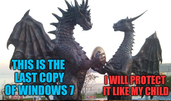 I WILL PROTECT IT LIKE MY CHILD THIS IS THE LAST COPY OF WINDOWS 7 | made w/ Imgflip meme maker