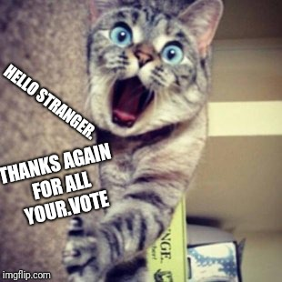 HELLO STRANGER. THANKS AGAIN FOR ALL YOUR.VOTE | made w/ Imgflip meme maker