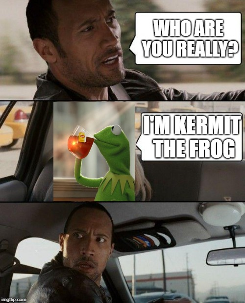The Rock Driving Meme | WHO ARE YOU REALLY? I'M KERMIT THE FROG | image tagged in memes,the rock driving,kermit the frog,frog week,but thats none of my business | made w/ Imgflip meme maker