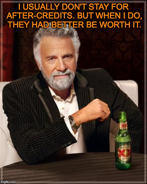 The Most Interesting Man In The World Meme | I USUALLY DON'T STAY FOR AFTER-CREDITS. BUT WHEN I DO, THEY HAD BETTER BE WORTH IT. | image tagged in memes,the most interesting man in the world | made w/ Imgflip meme maker