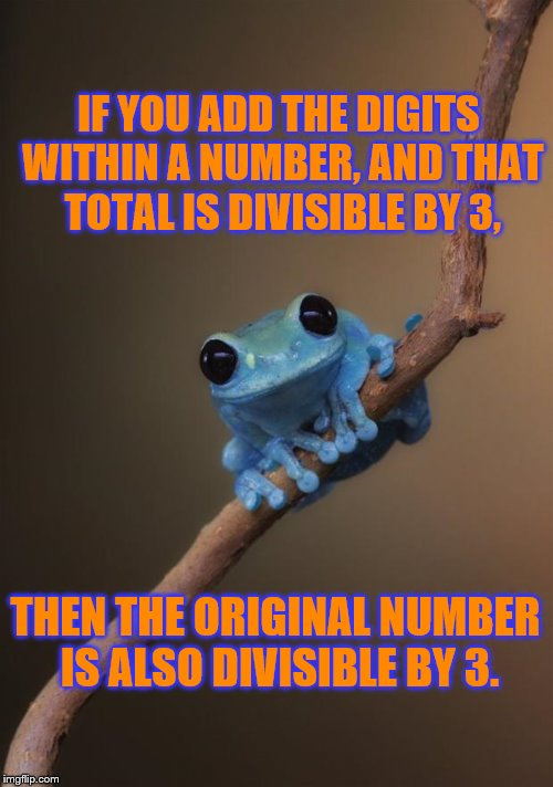Small Fact Frog ~ For example, 57 is 5+7 which equals 12.  12 is divisible by 3, so 57 is divisible by 3. | IF YOU ADD THE DIGITS WITHIN A NUMBER, AND THAT TOTAL IS DIVISIBLE BY 3, THEN THE ORIGINAL NUMBER IS ALSO DIVISIBLE BY 3. | image tagged in small fact frog,memes,frog week,jbmemegeek,giveuahint,math | made w/ Imgflip meme maker