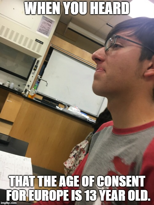 WHEN YOU HEARD THAT THE AGE OF CONSENT FOR EUROPE IS 13 YEAR OLD. | image tagged in memes | made w/ Imgflip meme maker