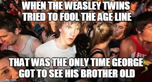 It's so hot in here right now my eyes are sweating. . . | WHEN THE WEASLEY TWINS TRIED TO FOOL THE AGE LINE THAT WAS THE ONLY TIME GEORGE GOT TO SEE HIS BROTHER OLD | image tagged in memes,sudden clarity clarence | made w/ Imgflip meme maker