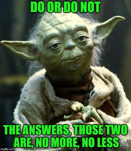 Star Wars Yoda Meme | DO OR DO NOT THE ANSWERS, THOSE TWO ARE, NO MORE, NO LESS | image tagged in memes,star wars yoda | made w/ Imgflip meme maker