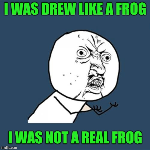 Y U No Meme | I WAS DREW LIKE A FROG I WAS NOT A REAL FROG | image tagged in memes,y u no | made w/ Imgflip meme maker