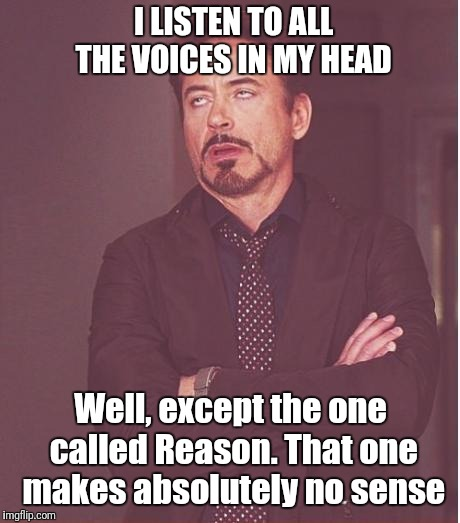 Face You Make Robert Downey Jr Meme | I LISTEN TO ALL THE VOICES IN MY HEAD Well, except the one called Reason. That one makes absolutely no sense | image tagged in memes,face you make robert downey jr | made w/ Imgflip meme maker