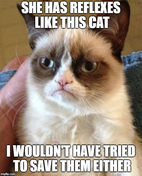 Grumpy Cat Meme | SHE HAS REFLEXES LIKE THIS CAT I WOULDN'T HAVE TRIED TO SAVE THEM EITHER | image tagged in memes,grumpy cat | made w/ Imgflip meme maker
