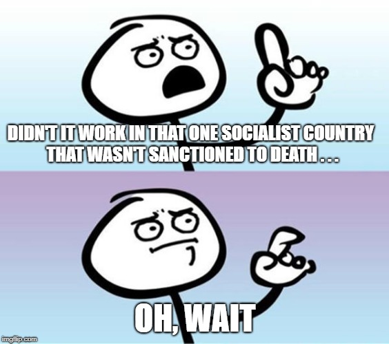 DIDN'T IT WORK IN THAT ONE SOCIALIST COUNTRY THAT WASN'T SANCTIONED TO DEATH . . . OH, WAIT | made w/ Imgflip meme maker