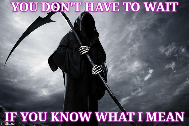 YOU DON'T HAVE TO WAIT IF YOU KNOW WHAT I MEAN | image tagged in grim reaper | made w/ Imgflip meme maker