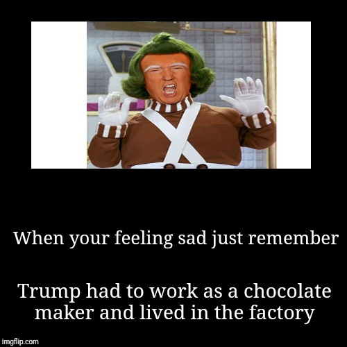 When your feeling sad just remember | Trump had to work as a chocolate maker and lived in the factory | image tagged in funny,demotivationals | made w/ Imgflip demotivational maker