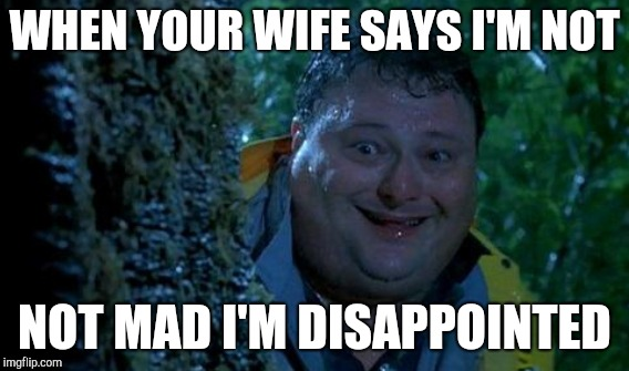 WHEN YOUR WIFE SAYS I'M NOT NOT MAD I'M DISAPPOINTED | made w/ Imgflip meme maker