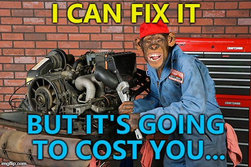 I'm guessing quite a few monkeys... :) | I CAN FIX IT BUT IT'S GOING TO COST YOU... | image tagged in grease monkey,memes,animals,cars | made w/ Imgflip meme maker