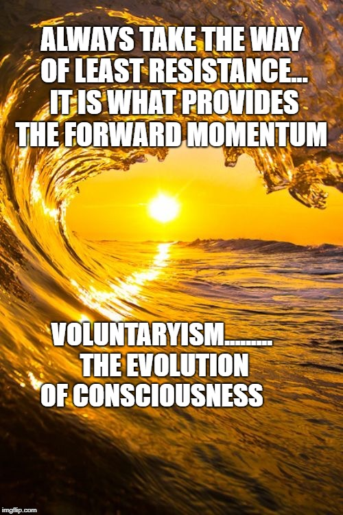 ALWAYS TAKE THE WAY OF LEAST RESISTANCE... IT IS WHAT PROVIDES THE FORWARD MOMENTUM VOLUNTARYISM......... THE EVOLUTION OF CONSCIOUSNESS | image tagged in forward waves with sun | made w/ Imgflip meme maker