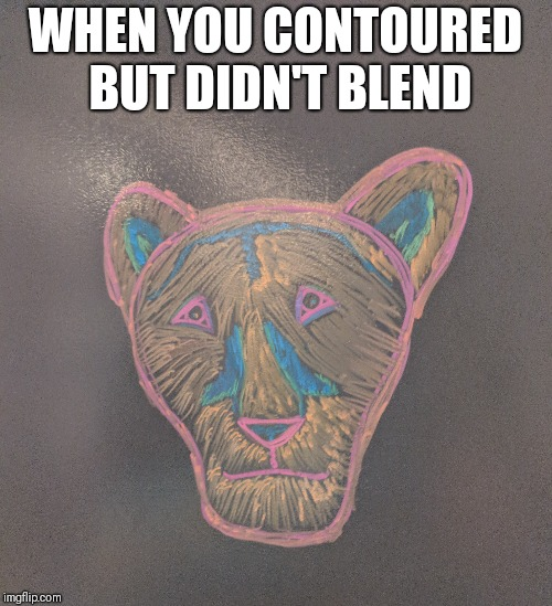 WHEN YOU CONTOURED BUT DIDN'T BLEND | image tagged in makeup,when | made w/ Imgflip meme maker