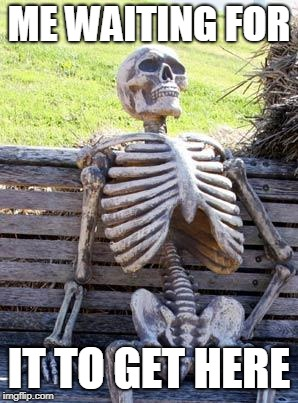 Waiting Skeleton Meme | ME WAITING FOR IT TO GET HERE | image tagged in memes,waiting skeleton | made w/ Imgflip meme maker