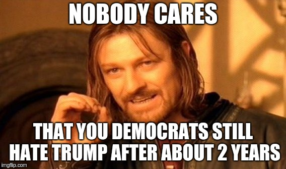 One Does Not Simply Meme | NOBODY CARES THAT YOU DEMOCRATS STILL HATE TRUMP AFTER ABOUT 2 YEARS | image tagged in memes,one does not simply | made w/ Imgflip meme maker