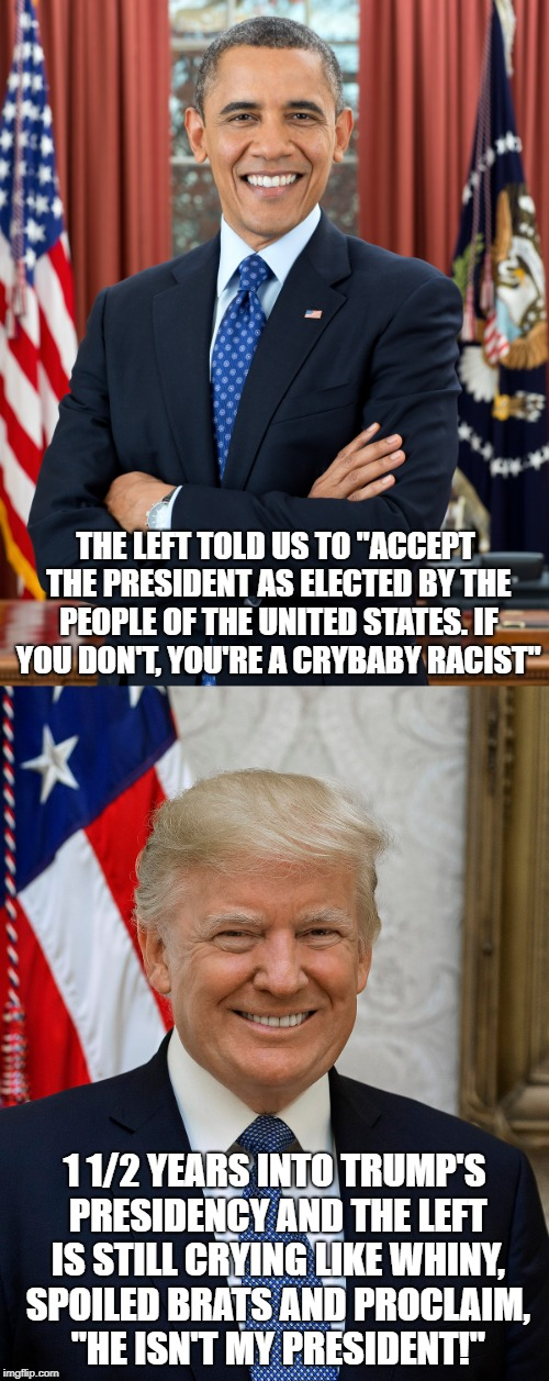 "THE LEFT TOLD US TO ""ACCEPT THE PRESIDENT AS ELECTED BY THE PEOPLE OF THE UNITED STATES. IF YOU DON'T, YOU'RE A CRYBABY RACIST"" 1 1/2 YEARS  