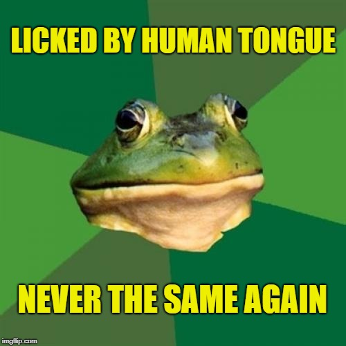 Foul Bachelor Frog (Foul Frog Week) | LICKED BY HUMAN TONGUE NEVER THE SAME AGAIN | image tagged in memes,foul bachelor frog,foul frog week,licking,lick,clickbait | made w/ Imgflip meme maker