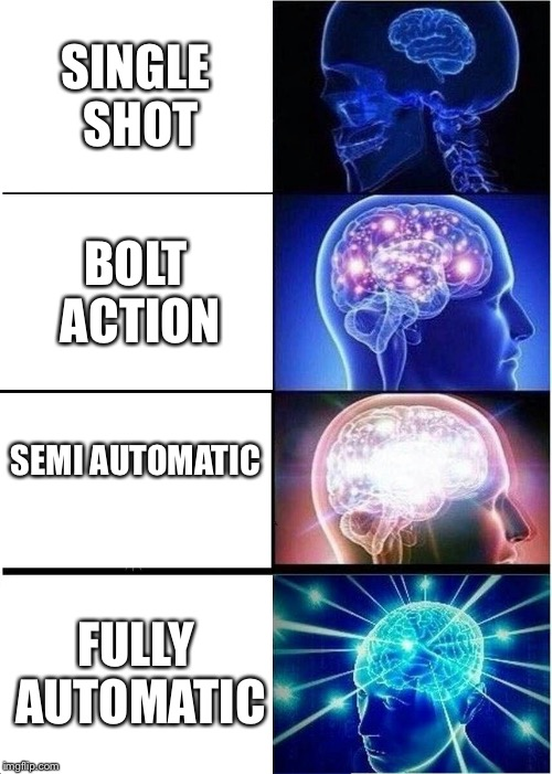 Gun people will get it  | SINGLE SHOT BOLT ACTION SEMI AUTOMATIC FULLY AUTOMATIC | image tagged in memes,expanding brain | made w/ Imgflip meme maker