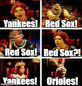 MLB's American League in a nutshell... | Yankees! Red Sox! Red Sox! Red Sox?! Yankees! Orioles! | image tagged in shrek,major league baseball,boston red sox,yankees | made w/ Imgflip meme maker
