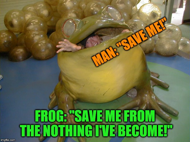 "MAN: ""SAVE ME!"" FROG: ""SAVE ME FROM THE NOTHING I'VE BECOME!"" 
