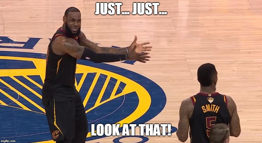 JUST... JUST... LOOK AT THAT! | image tagged in lebron jr smith nba finals 2018 | made w/ Imgflip meme maker
