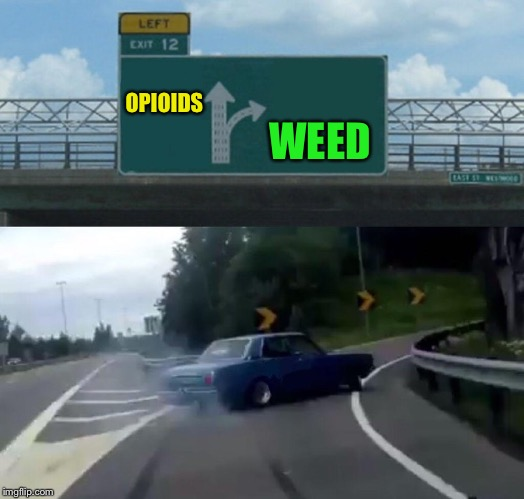 Left Exit 12 Off Ramp Meme | OPIOIDS WEED | image tagged in memes,left exit 12 off ramp | made w/ Imgflip meme maker