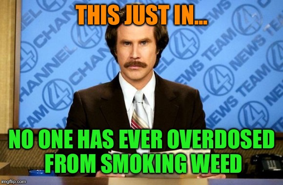 THIS JUST IN... NO ONE HAS EVER OVERDOSED FROM SMOKING WEED | made w/ Imgflip meme maker