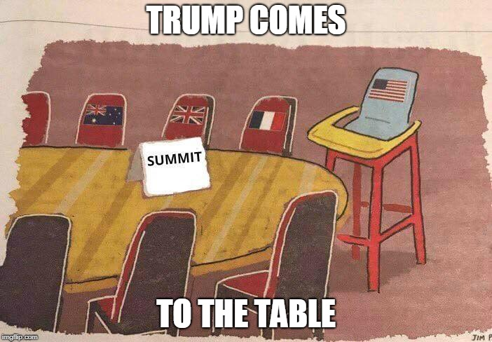 Childish Trump | TRUMP COMES TO THE TABLE | image tagged in donald trump,trump,puns | made w/ Imgflip meme maker
