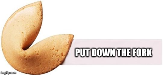 Rude fortune cookie | PUT DOWN THE FORK | image tagged in fortune cookie | made w/ Imgflip meme maker