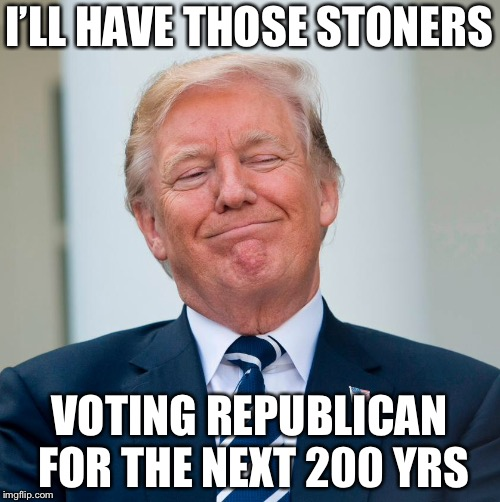 Trump to end federal ban on marijuana  | I'LL HAVE THOSE STONERS VOTING REPUBLICAN FOR THE NEXT 200 YRS | image tagged in trump,politics,marijuana | made w/ Imgflip meme maker