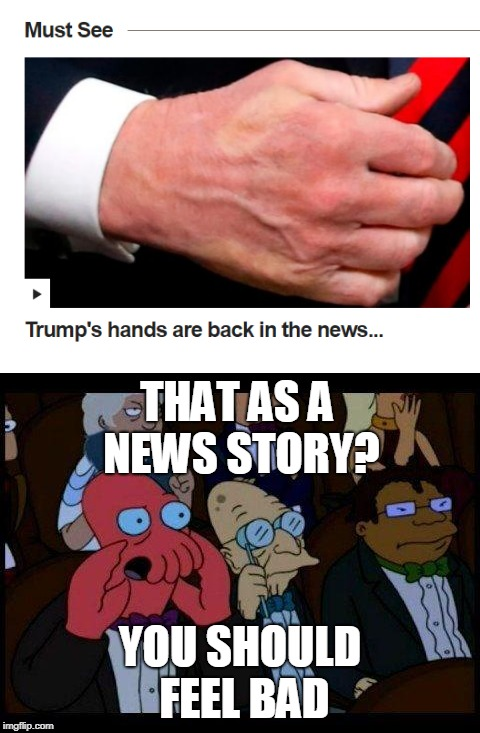 Trumps hands in news | THAT AS A NEWS STORY? YOU SHOULD FEEL BAD | image tagged in funny,memes,donald trump,you should feel bad zoidberg,news,politics | made w/ Imgflip meme maker