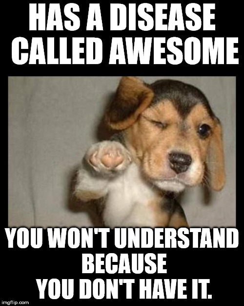Some have it and many don't | HAS A DISEASE CALLED AWESOME YOU WON'T UNDERSTAND BECAUSE YOU DON'T HAVE IT. | image tagged in memes,awesome,dog,disease | made w/ Imgflip meme maker