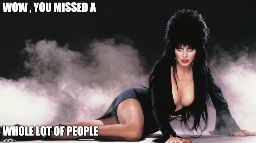 Elvira | WOW , YOU MISSED A WHOLE LOT OF PEOPLE | image tagged in elvira | made w/ Imgflip meme maker