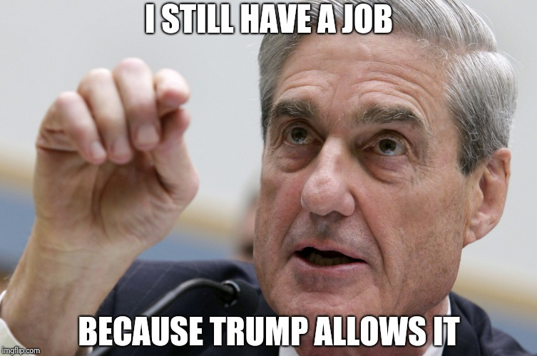 Robert Mueller penis size | I STILL HAVE A JOB BECAUSE TRUMP ALLOWS IT | image tagged in robert mueller penis size | made w/ Imgflip meme maker